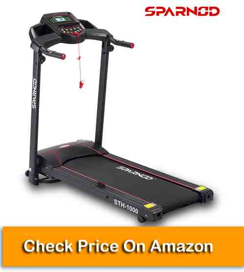 Sparnod Fitness STH-1000 (3 HP Peak) 100% Pre-Installed Foldable Treadmill for Home Use